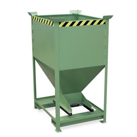 Contenitore a silo, con chiusura scorrevole + tasche di inforcamento, verniciato, volume 0,375 m³