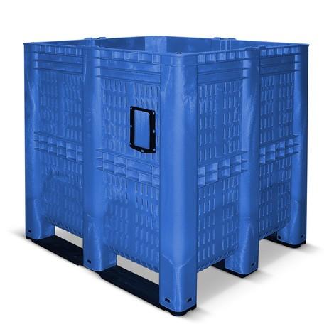 Contenitore grande in polietilene, 1.400 litri, con piedini, a giorno