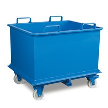 contentor inferior dobrável, com acionamento automática, com rodízios, volume 0,75 m³