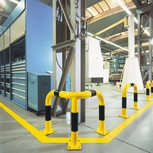 Corner hoop guard for indoor use, plastic-coated