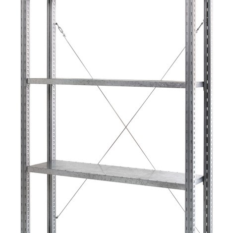 Cross brace for shelf rack with steel panel shelves
