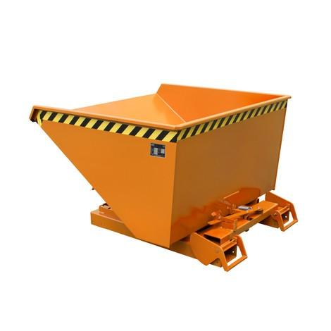 Depósito basculante con mecanismo rodante automático, capacidad de carga 1.500 kg, pintado, volumen 1,2 m³