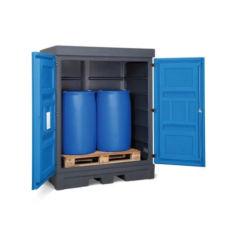 Depósito de substâncias perigosas feito de PE, com portas articuladas