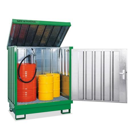 Dépôt de Matériau dangereuses, galvanisé et peint, 4x 200 litres, HxLxP 1,610 x 1,420 x 1,490 mm