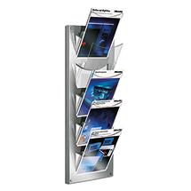 Design Wandprospekthalter. 5 transparente Fächer