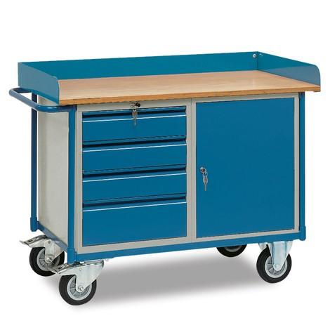 dílna vozík fetra® s vysokým okraj, skříň, 4 zásuvky