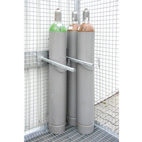 Dispositivo de retenção para contentor de cilindro de gás com tejadilho