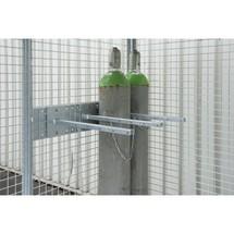 Dispositivo de retenção para contentor de cilindro de gás com tejadilho com bolsos de empilhadeira