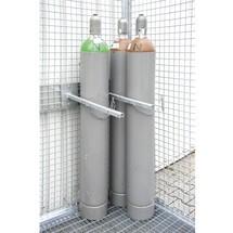 Dispositivo de retención para contenedor de cilindro de gas con techo|tejadillo