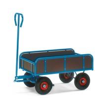 Dissel-handtrekwagen fetra® met 4 houten wanden. Capaciteit 400 kg