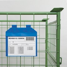 Document pouch for pallet cages, with hanging straps