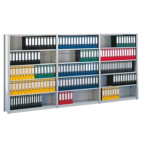 Dokumenthylla META påbyggnadssektion, enkelsidig, ljusgrå