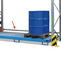 Doorschuifbeveiliging voor palletstellingen voor lekbakken
