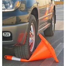 Dopravný kužeľ PVC, sbezpečným prejazdom, retro reflexný