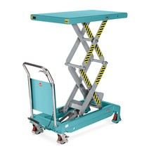 Double scissor lift table mounted on wheels with handle, Ameise®