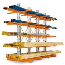 Draagarmstelling dubbelzijdig. 4 tot 6 staanders, cap. tot 500kg per arm, hoogte 2432mm