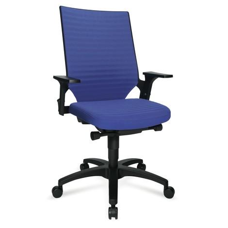Draaib. bur.stoel. Komzitting met beklede rugleuning, 560mm, kunststof voetkruis