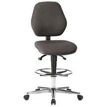 Draaibare werkstoel met zitstopwielen. Met voetring. Zithoogte 650 - 910 mm