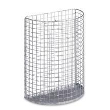 Drahtgitter-Abfallkorb, Stahlblechboden, Wand- oder Pfostenmontage