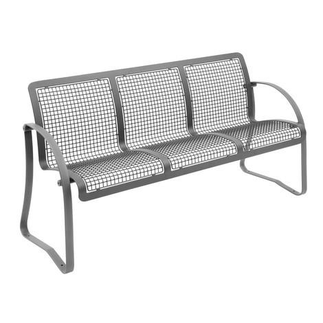 Drahtgitter-Sitzbank Alfo, 3 Sitze, mit Rückenlehne