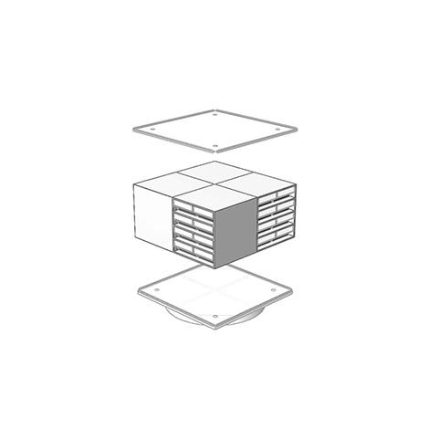 Drehständer für 16 Schubladenmagazine. Maß 1680 x 700 x 700 mm (HxBxT)