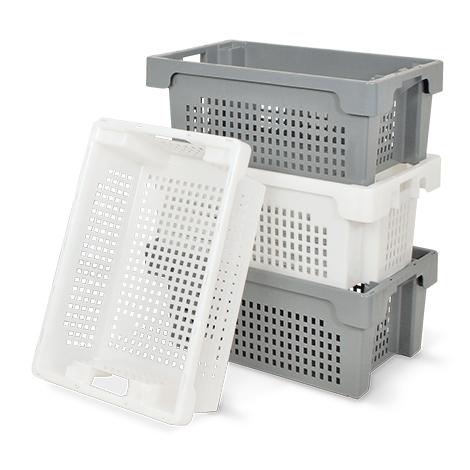 Drehstapelbehälter aus Polyethylen. Wände + Boden durchbrochen