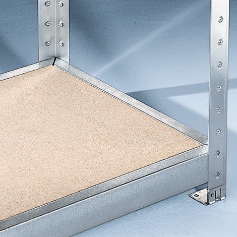 Drevotriesková doska pre široký regál META, sdrevotrieskovými doskami, nosnosť regálu je až 500 kg