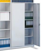 Drzwi skrzydłowe bez zasuwy do regałów na segregatory META, jednostronnych, kolor szary jasny