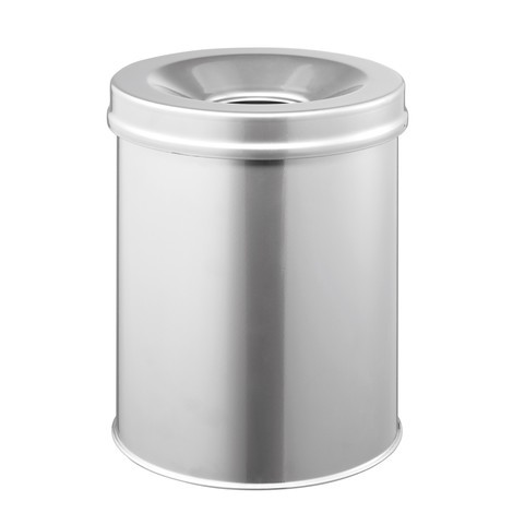 Durable waste paper bin in steel, with fire extinguishing lid
