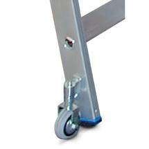 Échelle de rayonnage KRAUSE® avec marches et châssis roulant supérieur pour rails en tube rond