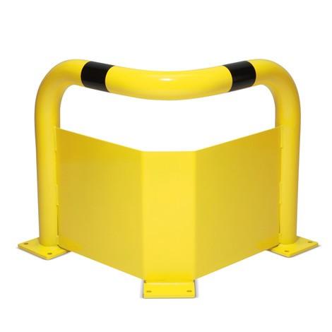 Eck-Schutzbügel mit Unterfahrschutz, Innenbereich, kunststoffbeschichtet gelb