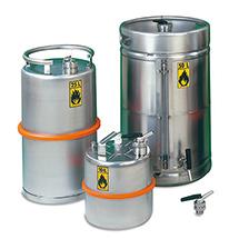 Edelstahl-Sicherheitsstandgefäß mit Schraubkappe, 10 - 50 Liter