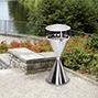 Edelstahl-Standascher rund mit Wetterschutzdach