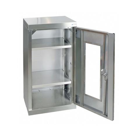 Edelstahlschrank stumpf® mit Sichtfenster, mit Stellschrauben im Boden