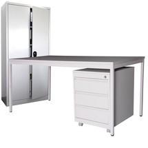 Einrichtungs-Set, Schreibtisch inkl. Rollcontainer + Flügeltürschrank