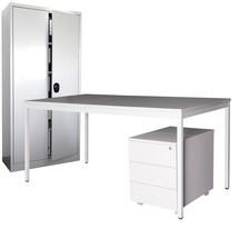 Einrichtungs-Set Steinbock®, Schreibtisch inkl. Rollcontainer + Flügeltürschrank