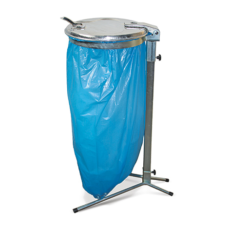 Einzel-Abfallsackhalter. Standgestell. Mit Deckel