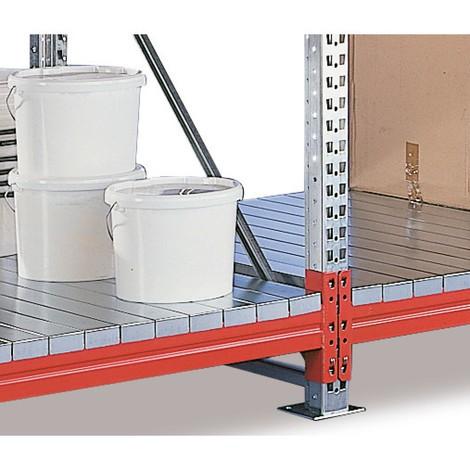 Ekstraniveau til bred reol fra META, med stålpaneler
