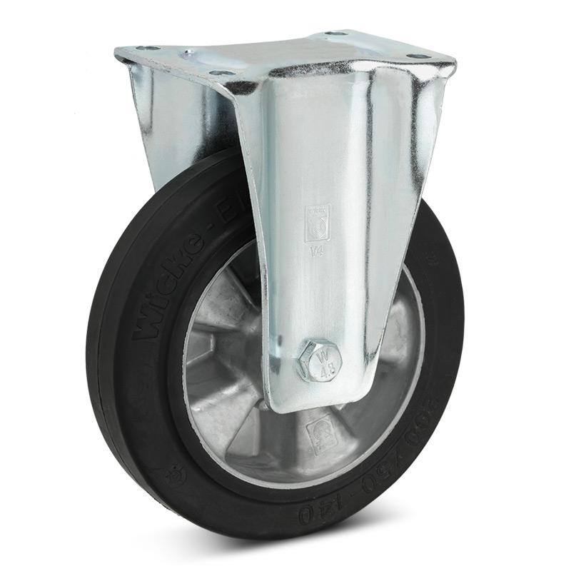 Elastik-Vollgummi-Bockrollen Premium. Alufelge, Tragkraft 180 - 570 kg