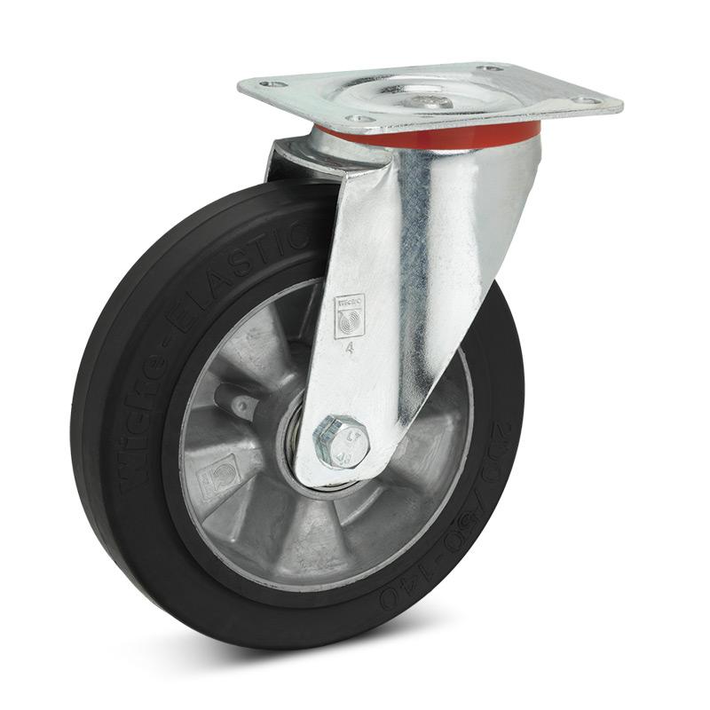 Elastik-Vollgummi-Lenkrollen. Aluminiumfelge, Tragkraft 180 - 350 kg