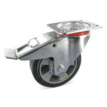 Elastik-Vollgummi-Lenkrollen mit Feststeller. Alufelge, Tragkraft 100 - 570 kg