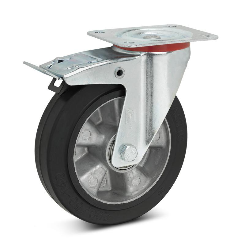 Elastik-Vollgummi-Lenkrollen mit Feststeller. Alufelge, Tragkraft 180 - 350kg