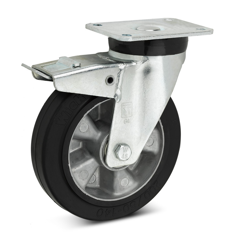 Elastik-Vollgummi-Lenkrollen Premium m. Feststeller im Nachlauf. Alu, 180-570 kg