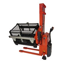 Elektrický vysokozdvižný vozík, vyklápěcí, nastavitelné držáky boxů