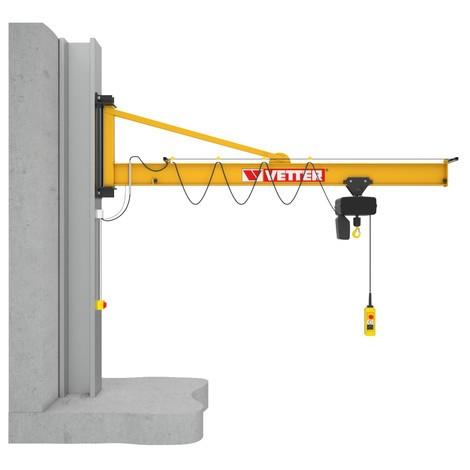 Elektryczny podnośnik łańcuch dźwig VETTER włącznie ELECTROLIFT, wariant ściana na z zaciskiem