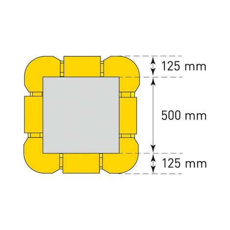 Elemento de extensão para proteção contra colisão com colunas, flexível