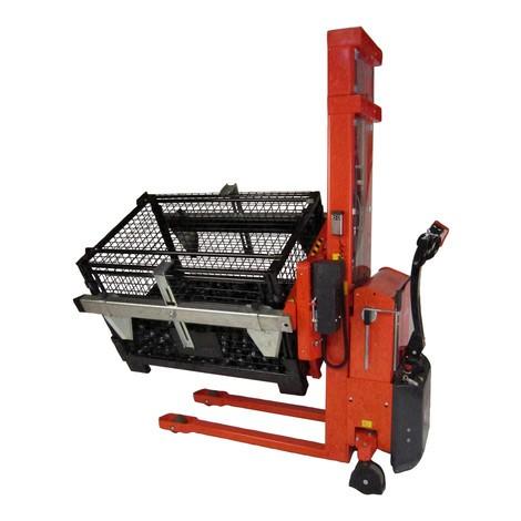 empilhador elétrico, giratório, suporte de poço ajustável