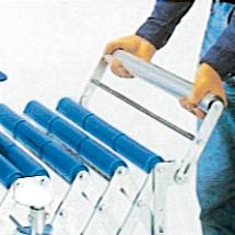 Endanschläge für Scheren-Rollenbahnen und -Röllchenbahnen, abklappbar