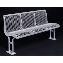 Ergolax draadgaas bank, 3 zitplaatsen, met rugleuning, met flensbevestiging