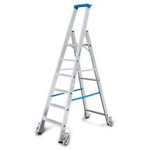 Escabeau à marches KRAUSE® Profi en aluminium, accessible d'un seul côté, avec roulettes
